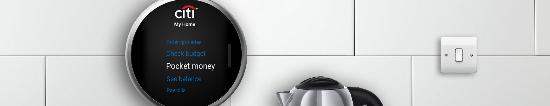 Citi wall helper smart home device on white tiles in kitchen setting