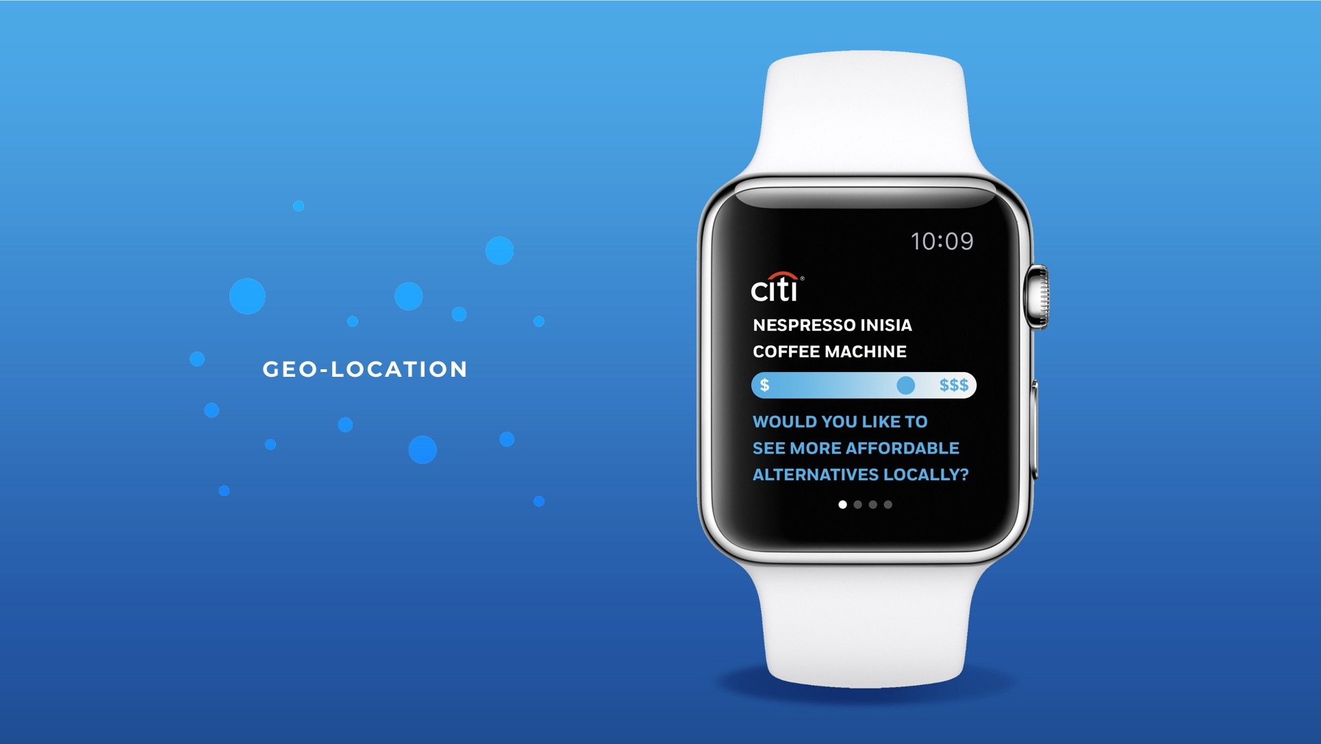 Apple smart watch with Citi Bank mobile app on screen