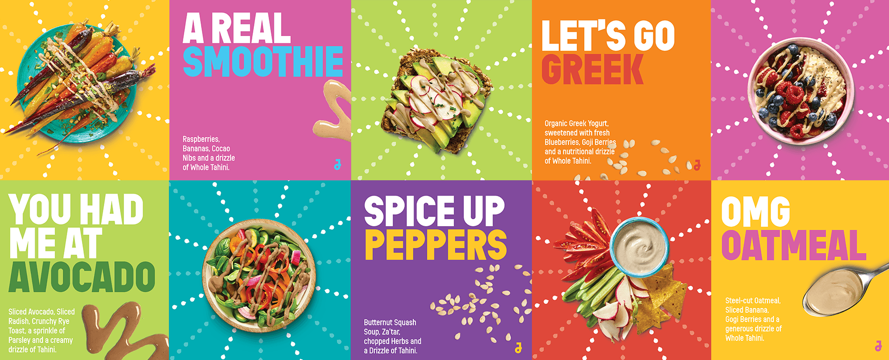 collage of ten colourful square boxes with various tahini recipe ideas and slogans on them