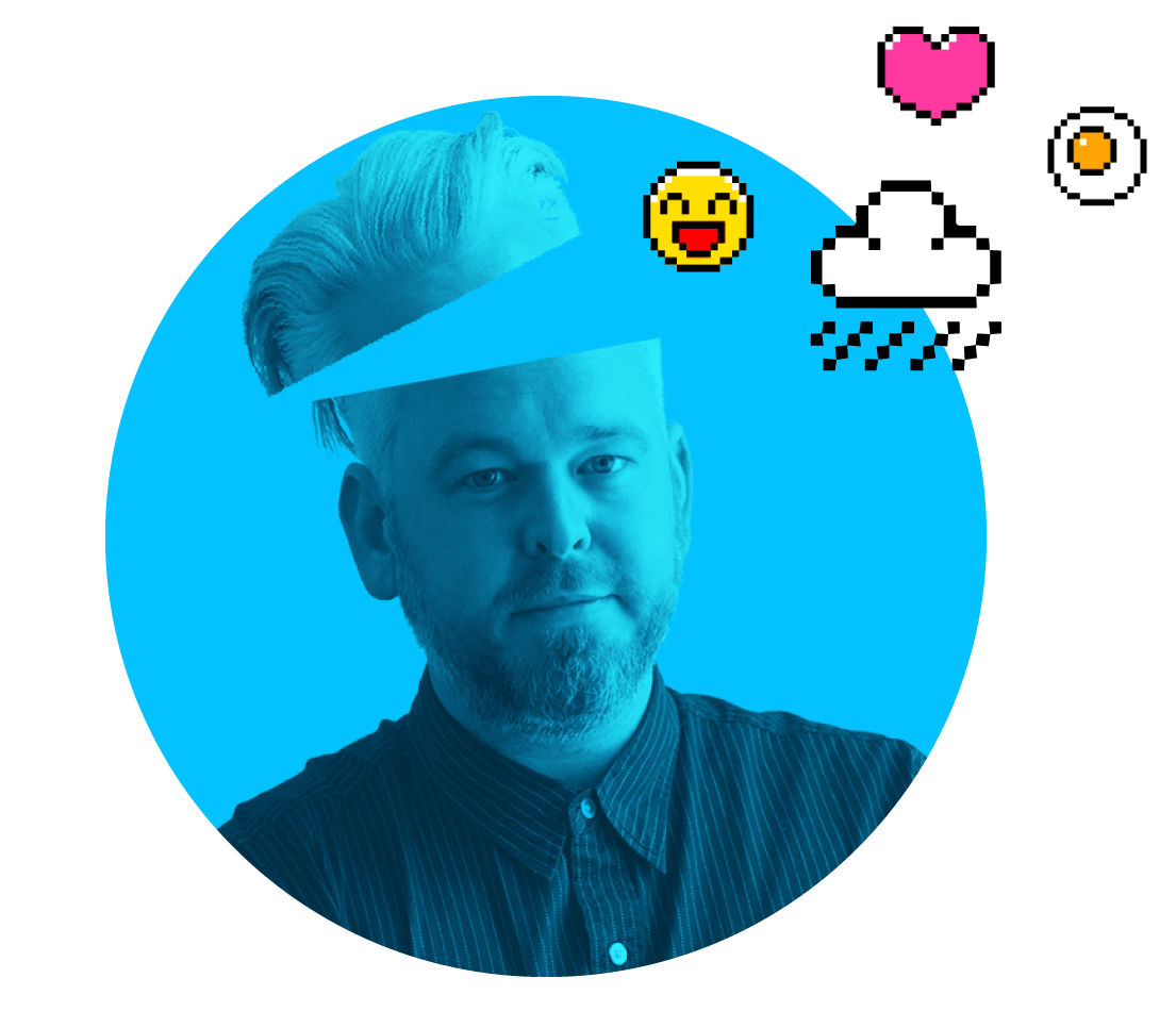 Graham Vard with emoji icons with blue tint
