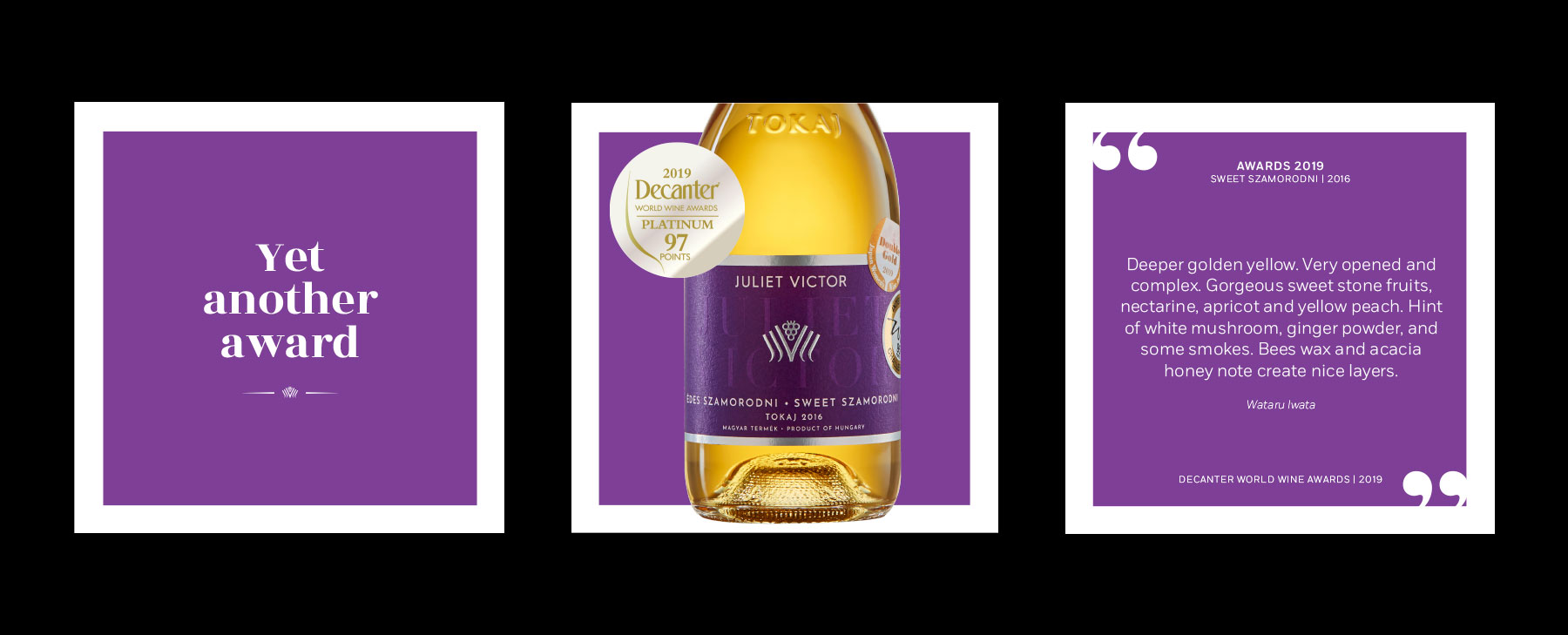 Juliet victor logo in gold on purple background and preview of black special edition wine box which is narrower at the top