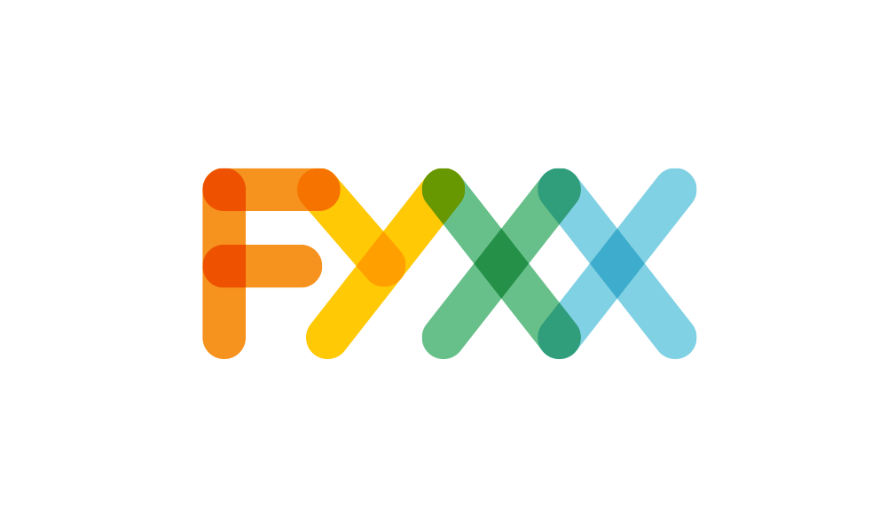 Fyxx logo in colours orange tell green and blue